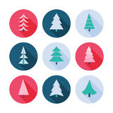 Set of Christmas trees icons. Royalty Free Stock Photo