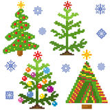 Set of Christmas Trees with mosaic structure Stock Photos