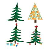 Set of christmas trees and orange tree. Decoration balls, star and light bulb chain decorated christmas tree,boxes with present stock image