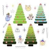 Set of Christmas trees piglets toys vector illustration