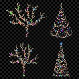 Set of Christmas trees. Made of defocused multicolored fairy lights with bokeh effects Royalty Free Stock Photo