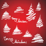 Set of Christmas trees sketches Royalty Free Stock Image