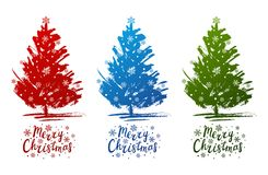 Set of Christmas trees sketches. Isolated on white Stock Images