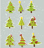 Set of Christmas trees on stickers Royalty Free Stock Photos