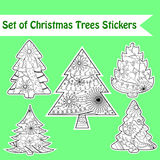 Set of christmas trees stickers Stock Photo