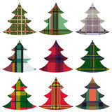 Set of Christmas Trees using the Celtic ornament. Set of nine Christmas Trees using the Celtic chequered ornament on a white background, hand drawing vector Royalty Free Stock Photography