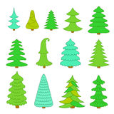Set of Christmas trees. Stock Photos