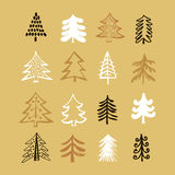 Set of christmas trees5 Royalty Free Stock Images