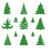 Set of Christmas Trees Vector Illustrations Stock Photography