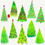 Set of Christmas  trees  on white background. Blue and ultramarine colors. Stock Image