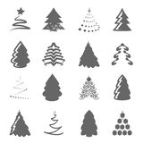 Set of Christmas trees on the white background, gray silhouette Royalty Free Stock Photos