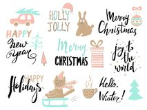 Set of Christmas typography and design elements. Stock Images