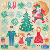 Set of christmas vector elements. Stock Images