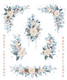 Set of Christmas vector florals, blooming branches, flowers, flourishes, wreaths and corners. stock illustration