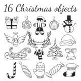 Set of 16 Christmas vector objects. Collection for creating Christmas patterns, backgrounds and illustrations. Set of 16 Christmas vector objects. Collection royalty free illustration