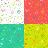 Set of Christmas vector seamless patterns. Flat outline style vector illustration