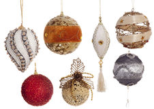 Set of Christmas vintage festive decorations isolated on white Stock Photo