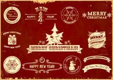 Set of Christmas vintage labels. Set of original Christmas themed vintage labels Stock Image
