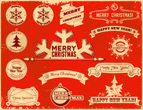 Set of Christmas vintage labels Stock Images