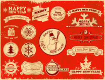 Set of Christmas vintage labels Royalty Free Stock Photography