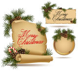 Set of Christmas vintage scrolls and stickers. With fir tree and seed Stock Photos