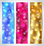 Set Christmas wallpaper with snowflakes Royalty Free Stock Images