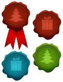 Set of christmas wax seals Stock Photos