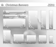 Set of Christmas web banners. Christmas banners in silver tone, standard sizes. Labels useful Stock Image