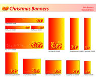Set of Christmas web banners. Christmas banners in red tone, standard sizes. Labels useful Stock Images