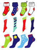 Set of Christmas, Winter and America pattern socks. Set of Christmas, Winter and United States of America flag pattern socks Stock Images