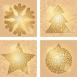 Set of 4 Christmas winter backgrounds. Vector Royalty Free Stock Photo