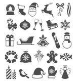 Set of Christmas Winter Flat Black Icons  on White Royalty Free Stock Image