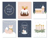 Set of Christmas and Winter Holidays Cards. Advent Wreath, Church and Lettering Signs. Vector Illustration.  Stock Images