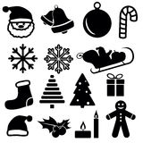 Set of christmas and winter icons isolated on white background. Vector illustration Royalty Free Stock Photo