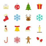 Set of Christmas and Winter icons on white background. Vector Illustration Royalty Free Stock Image