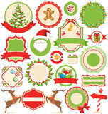 Set of Christmas Winter Labels Icons Flat Collection  on Royalty Free Stock Photography