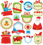 Set of Christmas Winter Lables Icons Flat Collection Isolated on Royalty Free Stock Image
