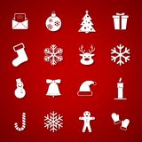 Set of Christmas and Winter white icons on red background. Vector Illustration Royalty Free Stock Photography