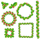 Set of Christmas wreath, frames and borders. Christmas wreath of holly berry and green leaf isolated Stock Photography