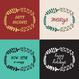 Set Christmas wreath hand drawn fir tree branches Royalty Free Stock Image