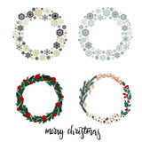 Set of Christmas Wreath with Hand Lettering Inscription Merry Christmas. Isolated on White Background. Vector Illustration. Modern Calligraphy vector illustration