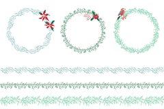 Set of Christmas wreathes isolated on white. Stock Photography