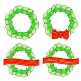 Set of Christmas Wreaths Stock Images