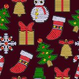 Set of christmases patches with sequins. Snowflake, candy, bell, Santa and other stickers. Set of christmases patches with sequins. Snowflake, candy, bell Royalty Free Stock Photography