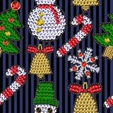 Set of christmases patches with sequins. Snowflake, candy, bell, Santa and other stickers. Set of christmases patches with sequins. Snowflake, candy, bell Stock Photography