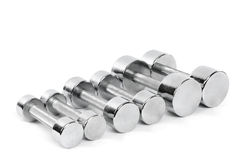 Set of Chrome Dumbbells Royalty Free Stock Photo