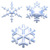 Set of chrome metal effect snow flakes over white Stock Images