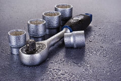 Set of chromeplated wrenches Stock Image