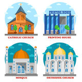 Set of church buildings and printing house facade. stock illustration
