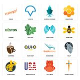 Set of church cross, cute bear, muscle man, bookstore, cafeteria, angel wing, dustbin, shipping company, rising icons. Set Of 16 simple  icons such as church Royalty Free Stock Photos